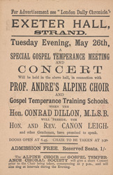 Advert for Professor Andre's Alpine Choir, reverse side